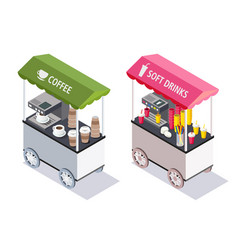Street cart stores isometric vector