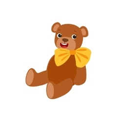 Teddy bear with yellow bow kids birthday party vector