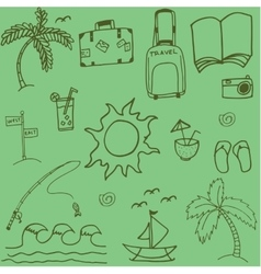 Travel doodle with green backgrounds vector image