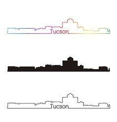 Tucson skyline linear style with rainbow vector image