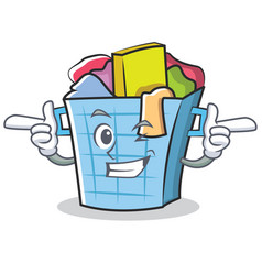 Wink laundry basket character cartoon vector
