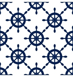 Seamless pattern with nautical blue helms vector