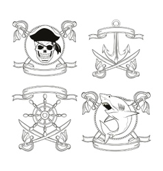 Cartoon pirate tattoo design vector