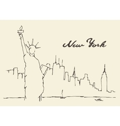 New york city statue liberty drawn vector