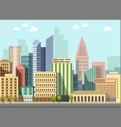 Modern urban city landscape flat day vector