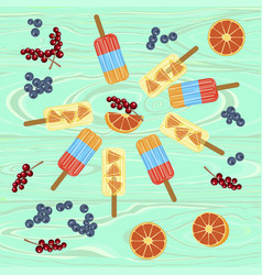 Homemade popsicles with berries vector
