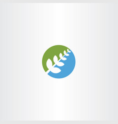 Bio plant green blue icon herb natural health vector