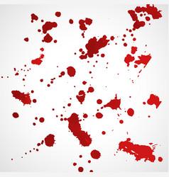 grunge red ink splatter texture set vector image