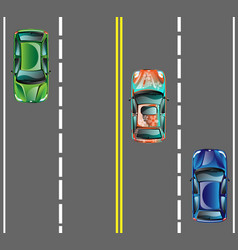 Top view cars on asphalt road vector