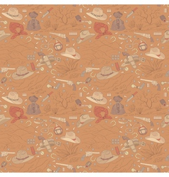 Seamless cowboy pattern with landscapes vector
