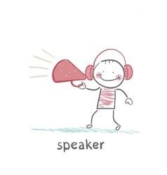 speaker of the headphones into the speaker says vector image