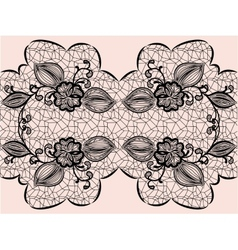 Seamless black lace ribbon with floral elements vector