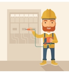 Electrician repairing an electrical panel vector