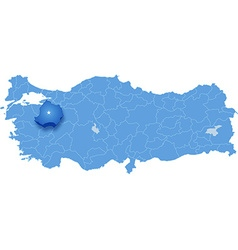 Map of turkey kutahya vector