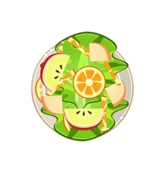 Salad with oranges and apple served food vector