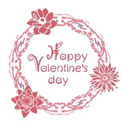 Happy valentines day card with floral round frame vector image