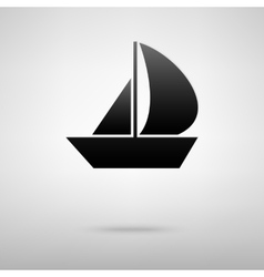 Sail boat black icon vector