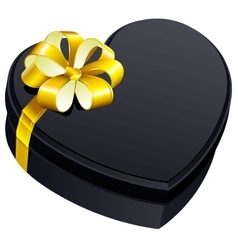 Black gift close box heart shape vector