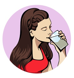 Drinking woman vector