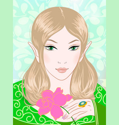 a beautiful spring fairy in green vector image