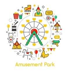Amusement park line art thin icons set vector