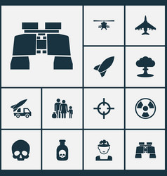 army icons set collection of ordnance glass vector image vector image