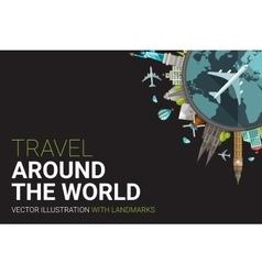 Around the world flat design postcard vector image vector image