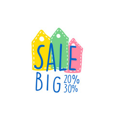 Big sale 20 30 percent off logo template special vector