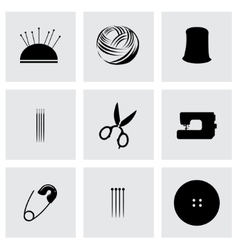 black sewing icons set vector image