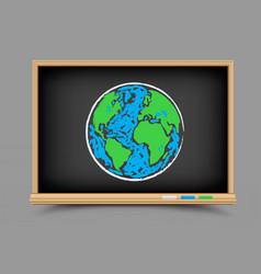 blackboard earth lesson vector image