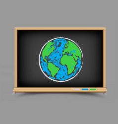 blackboard earth lesson vector image vector image