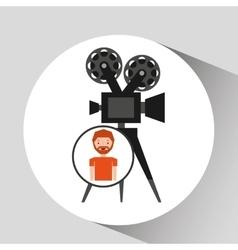 Cartoon man icon camera cinema graphic vector