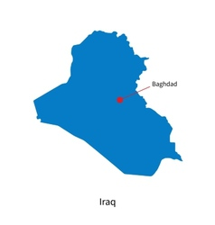 Detailed map of iraq and capital city baghdad vector