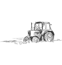 Doodle tractor vector