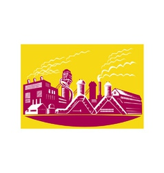Factory building power plant retro vector