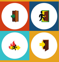 flat icon door set of entrance entry fire exit vector image vector image