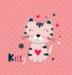 funny cat for kids design vector image