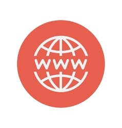 Globe with website design thin line icon vector image