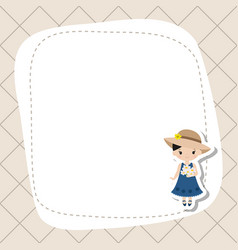 greeting card with cute farmer girl greeting card vector image