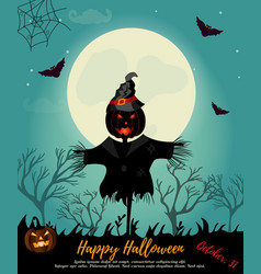 halloween background with scarecrow full moon and vector image vector image