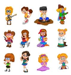 Happy kid cartoon collection vector