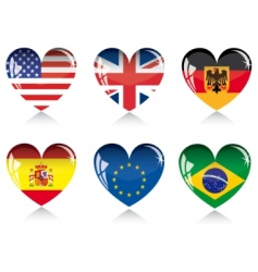 heart with flags vector image