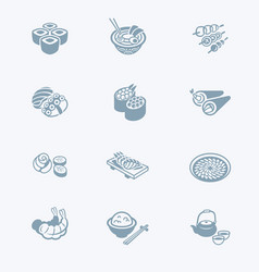 Japanese sushi-bar icons - tech series vector