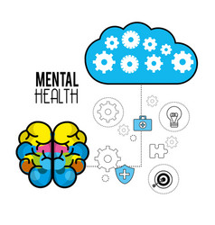 mental health brain with care tips vector image