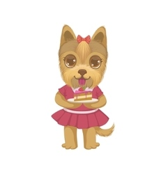 Puppy holding a piece of cake vector