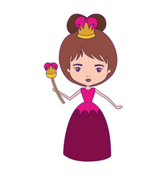Queen with crown and scepter in dress with purple vector