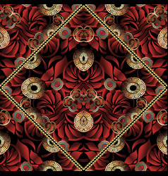 red floral greek key seamless pattern vector image