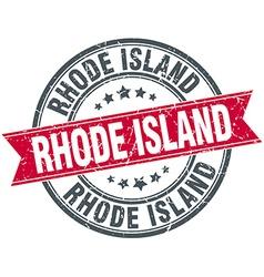 Rhode island red round grunge vintage ribbon stamp vector