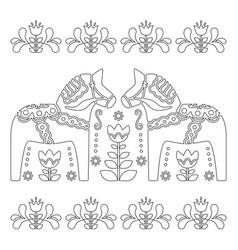 scandinavian outline design swedish dala o vector image vector image