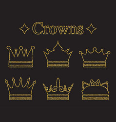Set of crowns in doodle style gold glitter vector